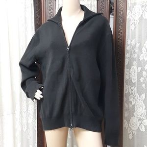 J. Ferrar Black Oversized Cardigan Zipper Sweater
